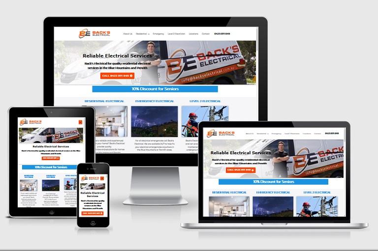 Polar Web Design Parramatta Client Portfolio - Backs Electrical Services